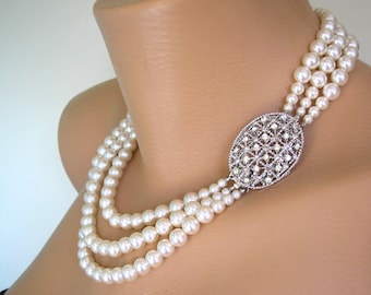 Mother of the Bride Pearl Necklace  Great Gatsby Jewelry Statement Necklace Pearl Choker Wedding Necklace Bridal Jewelry Art Deco