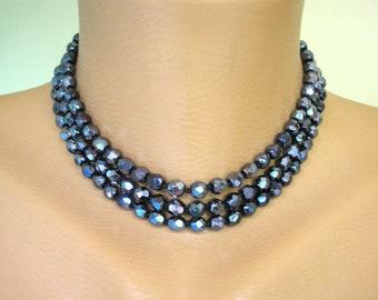 Vintage Black Glass Choker, Black Bridal Choker, Statement Necklace, Black Jewelry, Black Glass Necklace, Great Gatsby,  Downton Abbey, Deco