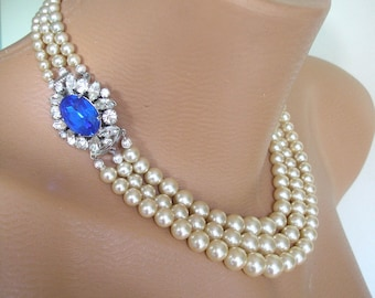 Pearl And Sapphire Necklace, Vintage Pearls, Great Gatsby Jewelry, Art Deco, Bridal Jewelry, Wedding Necklace, Bridal Pearls, Downton Abbey