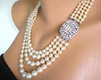 4 Strand Pearl Necklace, Vintage Pearl Choker, Art Deco, Gatsby, Wedding Jewelry, Vintage Bridal, Pearl And Rhinestone Collar, Cream Pearls