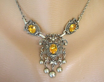 Vintage Jewelcraft Necklace, Citrine Rhinestone Choker