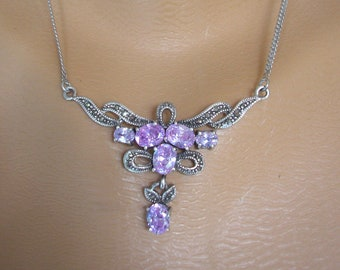 Marcasite Necklace, Stamped 925, Vintage Marcasite Jewelry, Amethyst Purple CZ, Marcasite Choker, Prom Jewelry, Nouveau/Deco Style