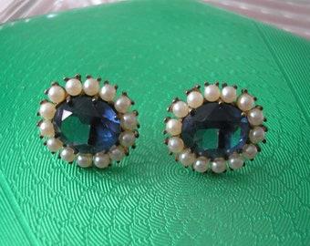 Lotus Pearl Earrings, Lotus Royale Pearl And Sapphire Earrings, Vintage Pearl Stud Earrings, Montana Sapphire Rhinestone Earrings