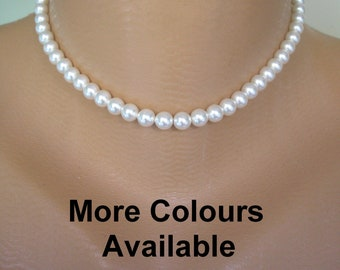 MEN'S Single Strand SWAROVSKI 6mm Glass Pearl Necklace, Swarovski Pearl Choker, Gold or Silver Tone, Choice of Colours And Sizes, Man Pearls