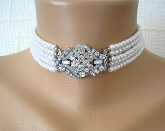 Vintage Pearl Choker, 5 Strand Pearl Choker, Downton Abbey Jewellery, White Pearls, Bridal Choker, Wedding Necklace, Indian Bridal Choker
