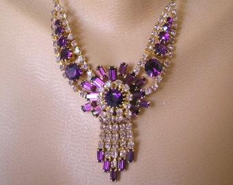 Great Gatsby Jewelry, Purple Bridal Necklace, Amethyst Rhinestone Choker, Wedding Necklace, Bridal Accessories, Purple Wedding, Jewelry