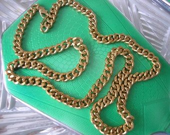 Vintage 1980s MEN'S/UNISEX Gold Tone Curb Chain, Heavy Curb Chain, Hip Hop Chain, Bling Bling, Gangster, Chunky Gold Chain, Gold Chain