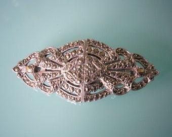 Marcasite Duette, Vintage Marcasite Brooch, Vintage Jewellery, Marcasite Double Clip, 1950s Dress Clips, Marcasite Dress Clips