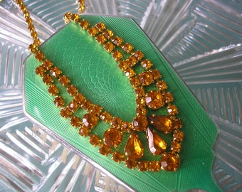 Vintage Citrine Crystal Necklace, Citrine Crystal Choker, Sparkly Necklace, Art Deco Style, Prom Jewelry, Party Jewellery, Golden Wedding