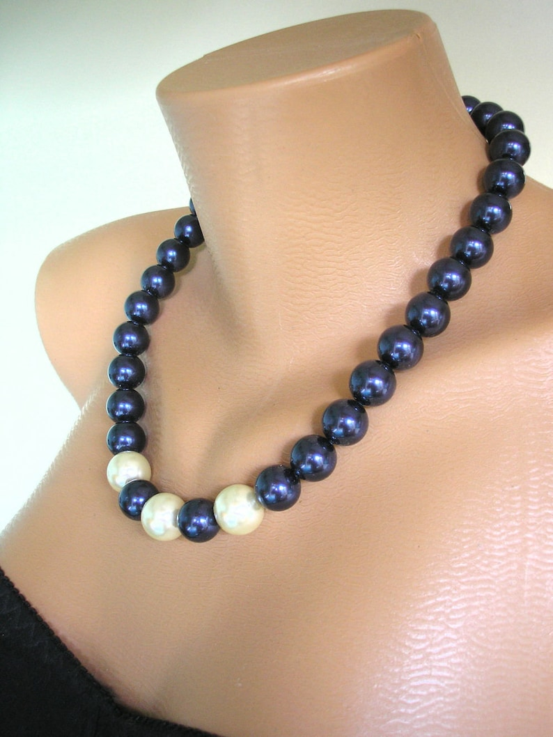 0af62823d Navy Blue Pearl Necklace Theresa May Inspired. SWAROVSKI   Etsy