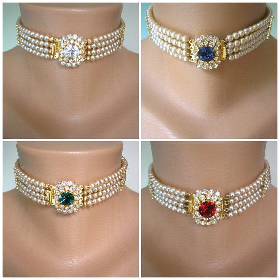 59341db95836d Pearl Bridal Choker, Indian Bridal Choker, Pearl Choker, Bridal Jewelry,  Pearl Necklace, Sapphire, Emerald, Diamond, Ruby, Deco, Statement