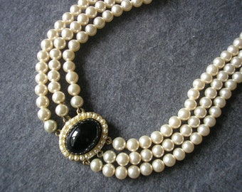 Pearl Choker With Black Pendant, Vintage Bridal Choker, Indian Bridal Jewelry, Evening Jewellery, Glass Onyx And Pearl, Seed Pearl, 3 Strand