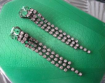 Vintage Art Deco Style Peridot Rhinestone Waterfall Earrings, Vintage CLIP ON Earrings, Sparkly Clip On Earrings, Downton Abbey Jewellery