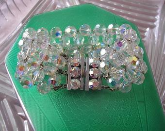 Vintage Aurora Borealis Crystal Bracelet, Crystal Bridal Cuff, Rainbow Wedding Bracelet, 3 Strand Crystal Cuff