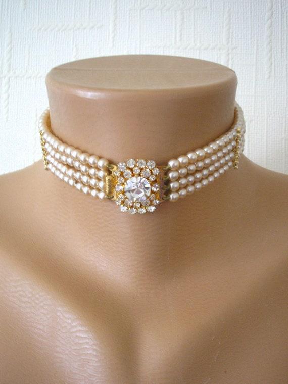 Vintage Pearl Choker, Diamond Pearl Choker, Pearl