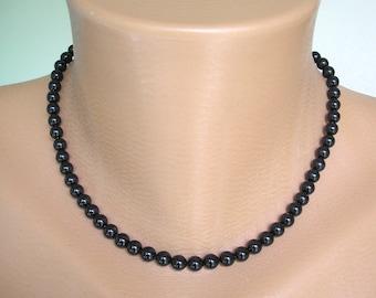 MEN'S Black SWAROVSKI Single Strand 6mm Glass Pearl Necklace, Swarovski Pearl Choker, Gold or Silver Tone, Choice of Sizes, Black Man Pearls