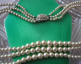 Vintage LOTUS Simulated Pearl necklace, Lotus Pearls, 3 Strand Pearls, Cream Pearl Choker, Pearls With Rhinestone Clasp, Classic Pearls