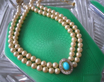 Vintage Pearl Choker Necklace, 2 Strand Pearls, Cream Pearls, Faux Turquoise Pendant, Indian Bridal Choker, Pearls With Turquoise Pendant