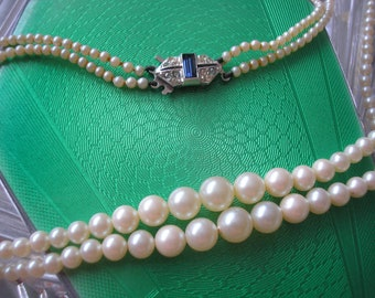 Vintage ELIZABETHAN PEARLS, 2 Strand Pearl Necklace, Ivory Pearls, Montana Sapphire Clasp, Vintage Bridal Pearls, Classic Pearl Necklace