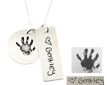 Actual Hand Print and Writing - Sterling Silver Necklace