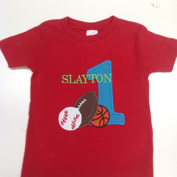 GreatStitch Sports Birthday Shirt 1st 2nd 3rd Boy
