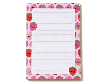 Strawberries Notepad, A6, Cute Stationery by hannahdoodle