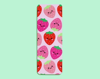 Strawberries Bookmark, Cute Stationery Gift, Kawaii Cute Strawberry, Smooth Luxury Bookmark by hannahdoodle