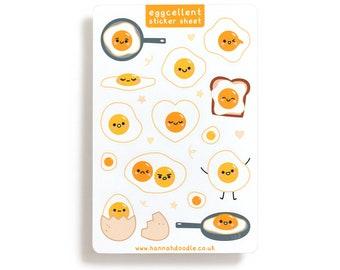 Egg Sticker Sheet, Cute Planner Stickers, Kawaii Journal Stickers