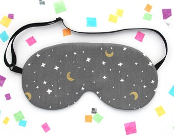 Moon and Stars Sleep Mask, Space Gift, Sky Pattern Fabric, Grey Eyemask