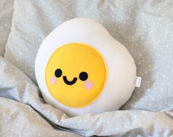 Fried Egg Plushie, Food, Cute Pillow, Kawaii Room Decor, Travel Pillow, Happy Room Decor