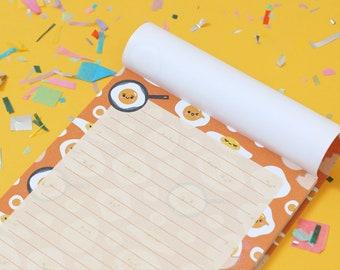 Egg Notepad A5, Kawaii Stationery by hannahdoodle