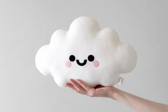 Kawaii Expression White Cloud Plush Stuffed Toy Dolls Key Chain Pendant Gift New