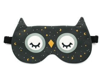 Starry Night Owl Sleep Mask, Celestial Eye Mask, Moon and Stars, Owl Gifts Night Mask