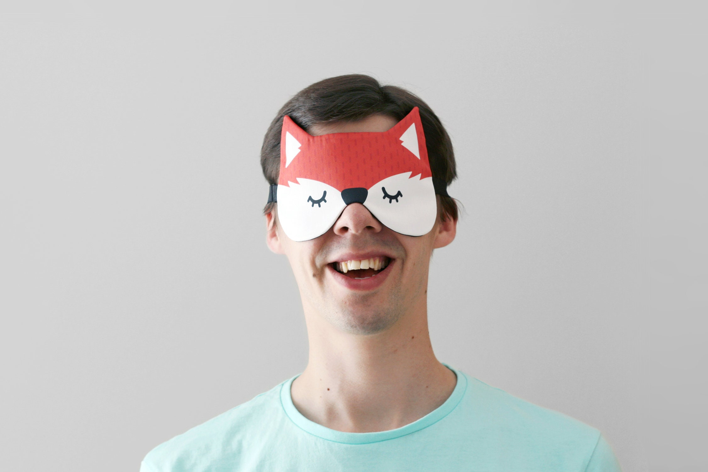 renard roux dormir masque mignon woodland masque pour les etsy. Black Bedroom Furniture Sets. Home Design Ideas