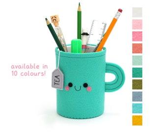 Teacup Pen Pot - Available in 10 colours, Pencil Pot, Desk Storage, Cute Decor by hannahdoodle