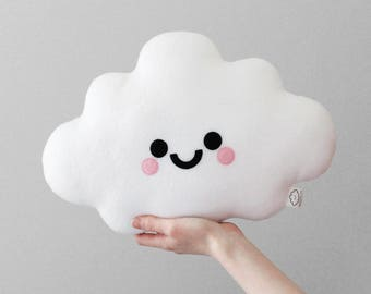 White Cloud Cushion, Nursery Decor, Happy Face Pillow, Kawaii Plushie, Soft Plush Room Accessory