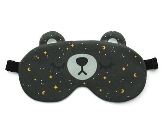 Starry Night Bear Sleep Mask, Moon and Stars, Satin Back, Adjustable Eye Mask, Astronomy Gift