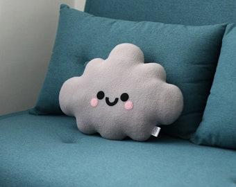 Grey Cloud Cushion, Kawaii Pillow, Soft Fleece Plush, Monochrome Home Decor