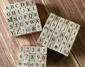 Alphabet Rubber Stamp Set Stamps Wood Mounted Uppercase Lower Case Numbers Times New Roman Letters Craft Supplies Tools Diy Card Making