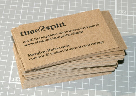 Kraft business cards chipboard lightweight custom biz colourmoves