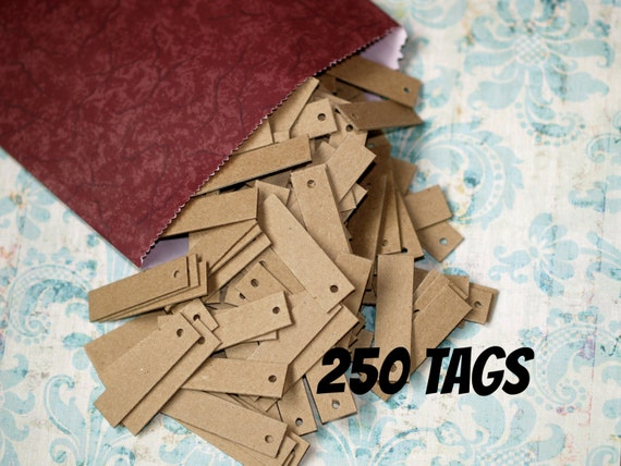 LOT 500 Scalloped KRAFT Print 1 X 1 5//8 Paper Merchandise Price Tags with String