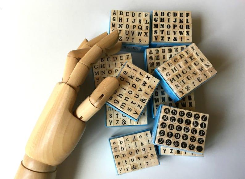Mini Alphabet Rubber Stamp Set Stamps Wood