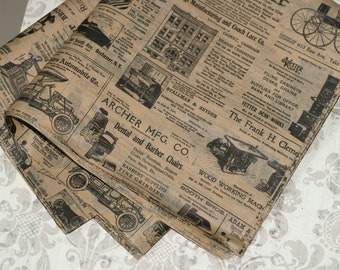 Kraft Newsprint Tissue Wrap - Vintage Look 15x20 or 20x30 Packaging Gift Wrap Newspaper Ad Old Fashioned Wrapping Paper Supplies Black Print