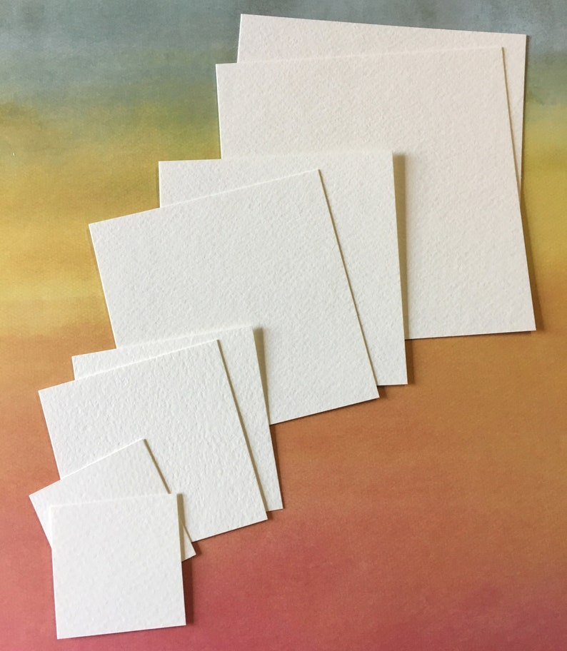 Square Watercolor Paper Cards  Strathmore Cold Press Art image 0