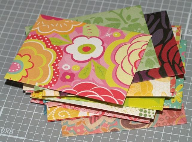 Flower Power Envelopes . 25 Mini Envelopes ACEO / ATC Thank You Notes Handmade Floral Wedding Guest Book Feminine Pretty Small Envelopes