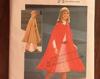 Vintage Simplicity 6839 Hooded Cape • one size