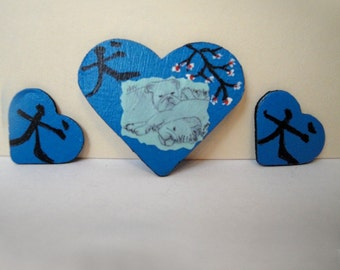 Wooden Heart Necklace \/ Earring Set