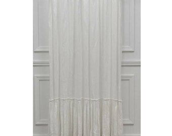 Solid White Linen Shower Curtain With Ruffles 72W X 84L Custom Made Girly