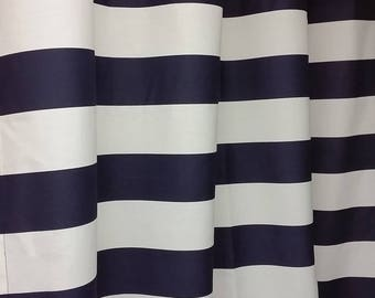 Navy Blue And White Grommet Shower Curtain Horizontal 3 Stripes Cotton