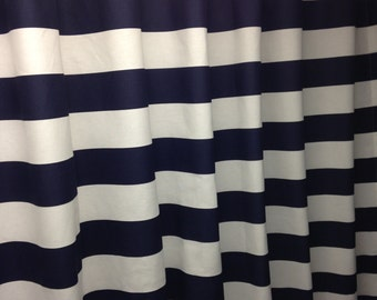 Navy Blue And White Shower Curtain 3 Wide Horizontal Cotton Fabric